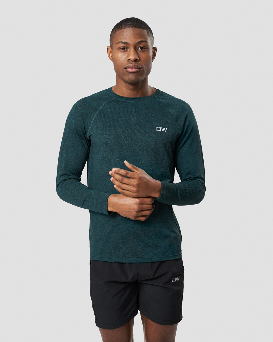 Training Mesh Long Sleeve Vivid Green Melange Men