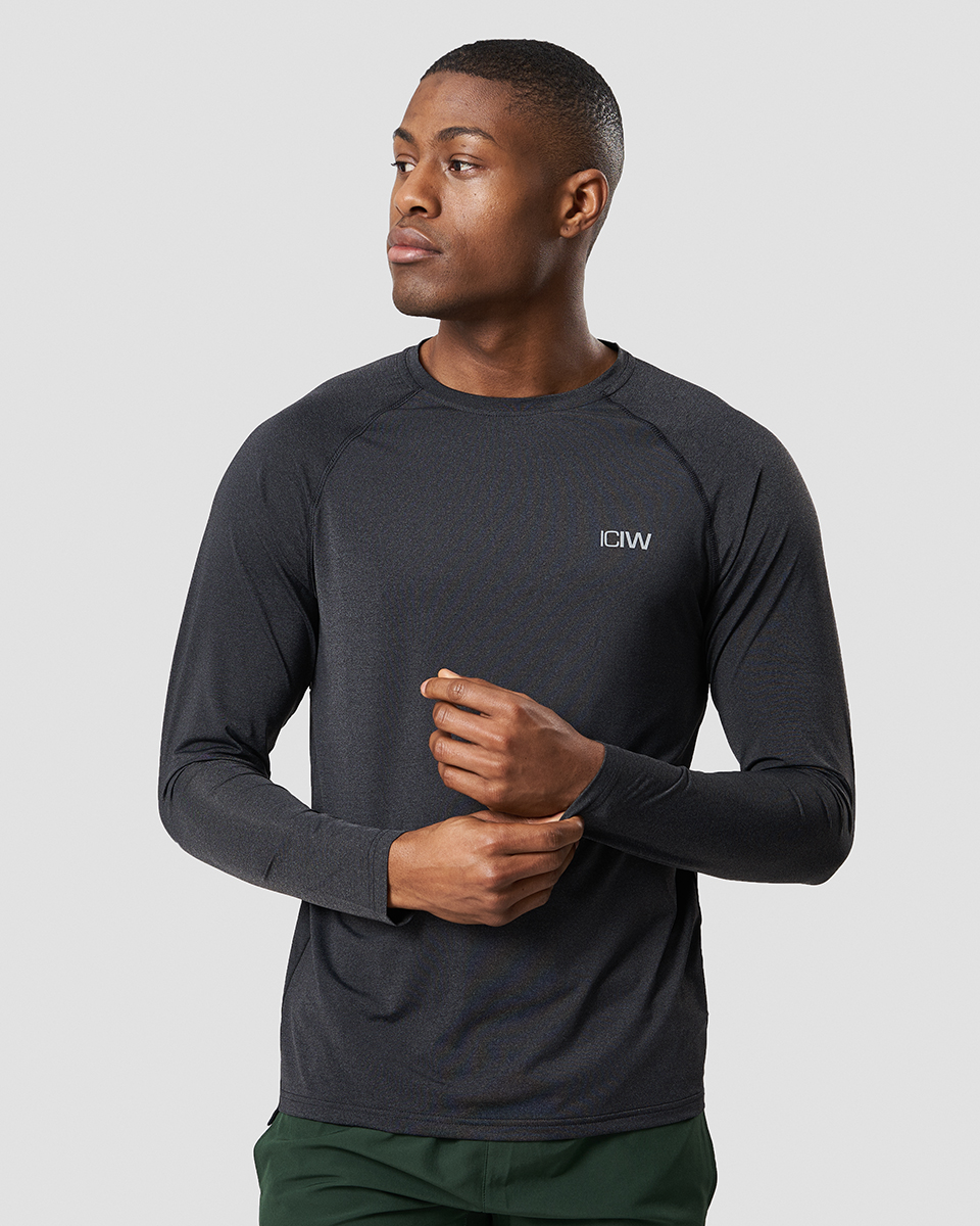 Workout Melange Long Sleeve Dark Grey Men